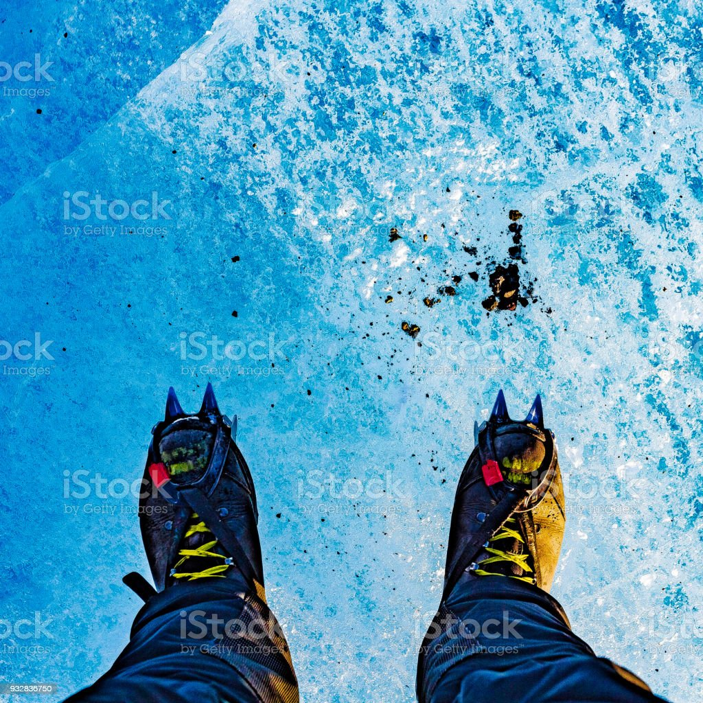 Glacier boots crampons grunge stock photo