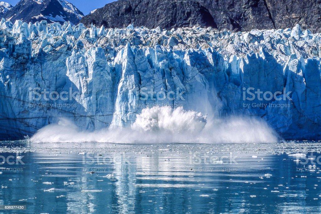 Glacier Calving into Glacier Bay National Park stock photo