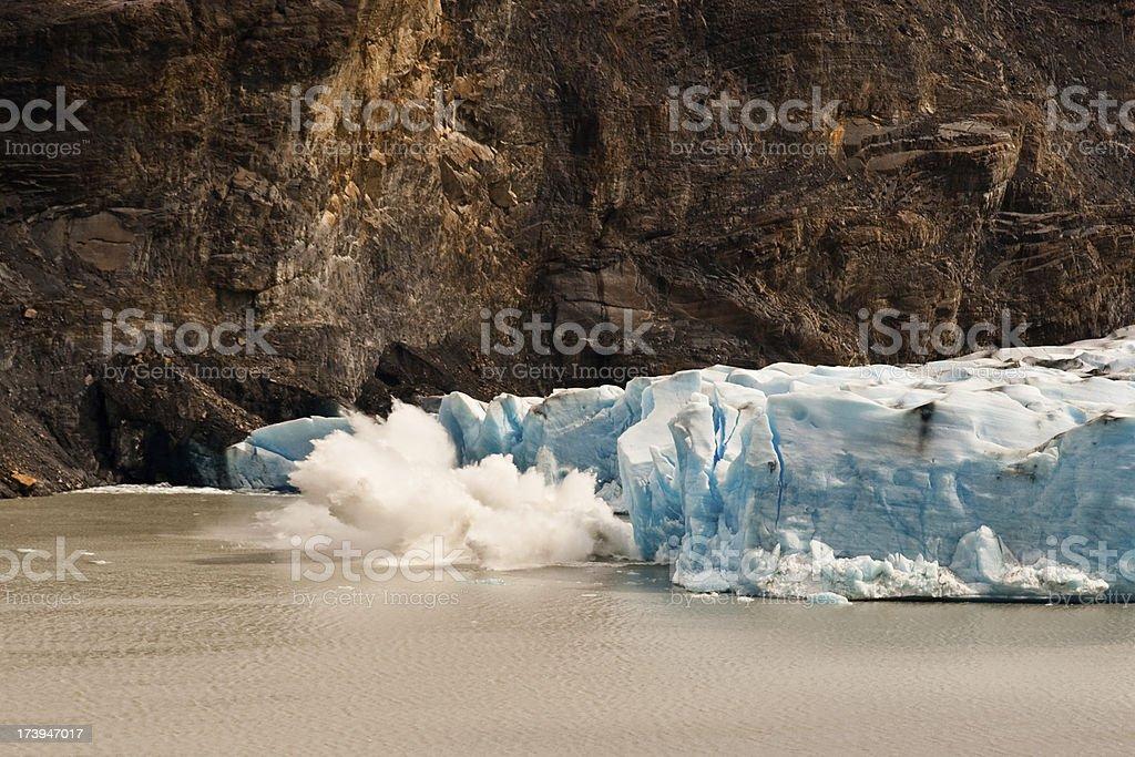 Glacier Calving Making a Big Splash stock photo