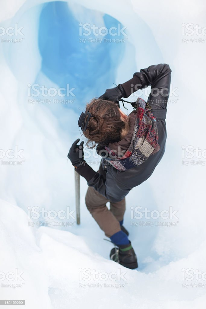 Glacier climbing stock photo