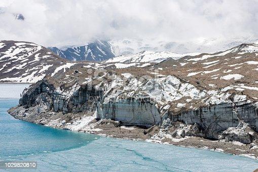 istock Glacier coming into Tilicho lake in Himalayas, Nepal. 1029820810