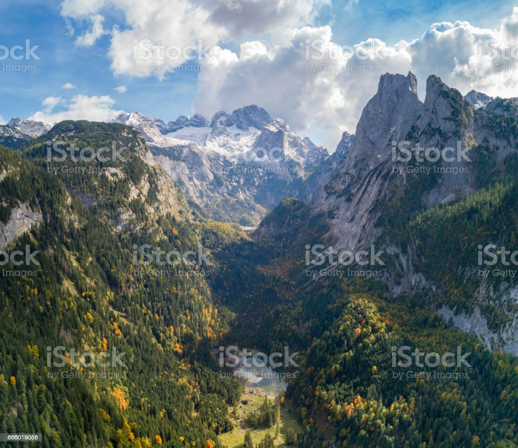 Glacier Dachstein with Gosausee, September 2017, Austria stock photo