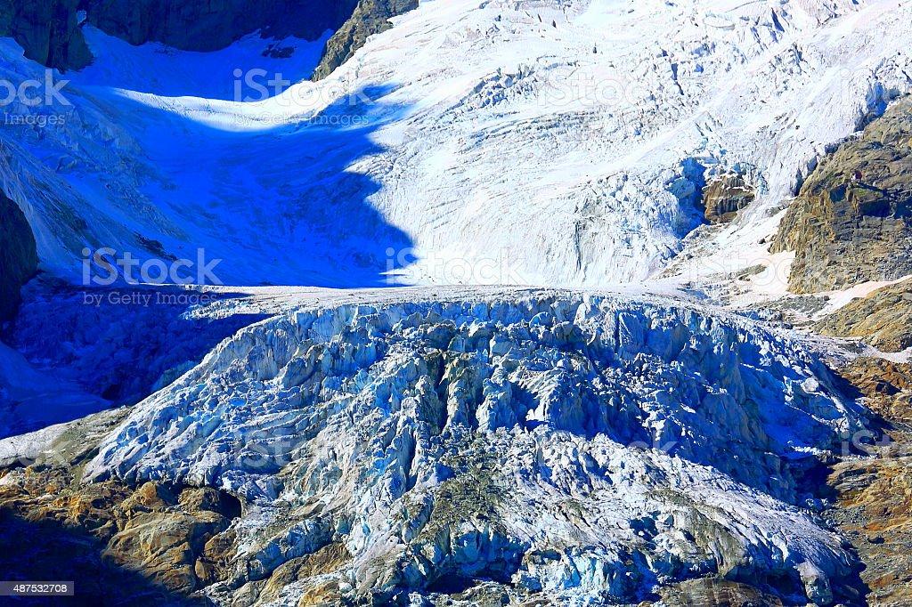 Glacier detail: Mont Blanc Grandes Jorasses alpine sea of ice stock photo