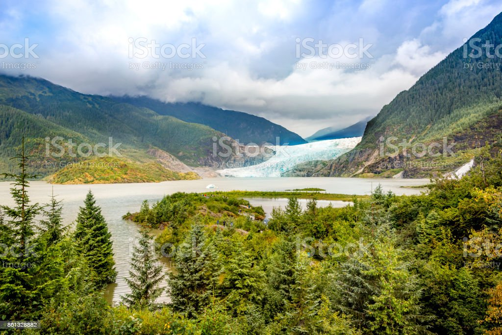 Glacier from Mendenhall Glacier National Park stock photo