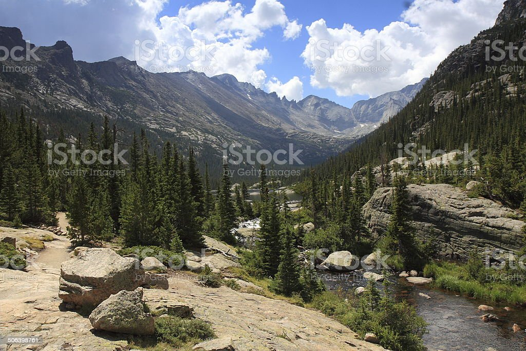 Glacier Gorge and Mills Lake, Rocky Mountain National Park, Colorado royalty-free stock photo