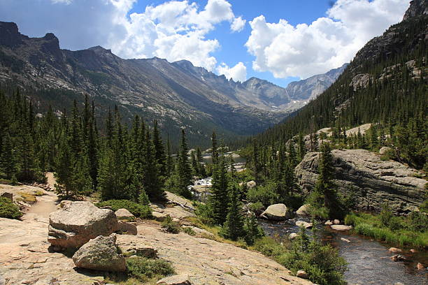 Glacier Gorge and Mills Lake, Rocky Mountain National Park, Colorado stock photo