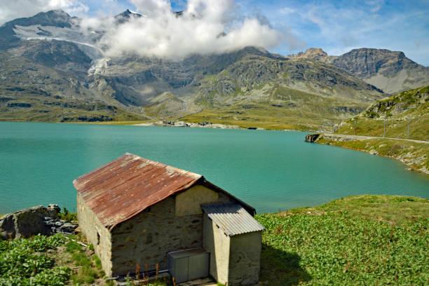 Glacier green lake stock photo