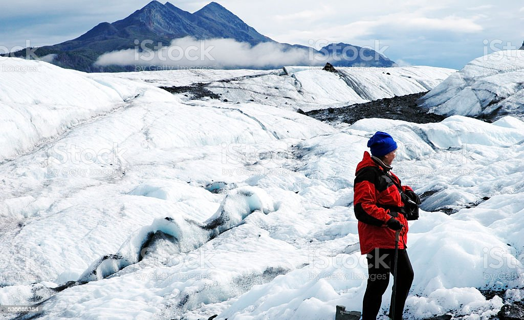 Glacier hiking in Alaska stock photo
