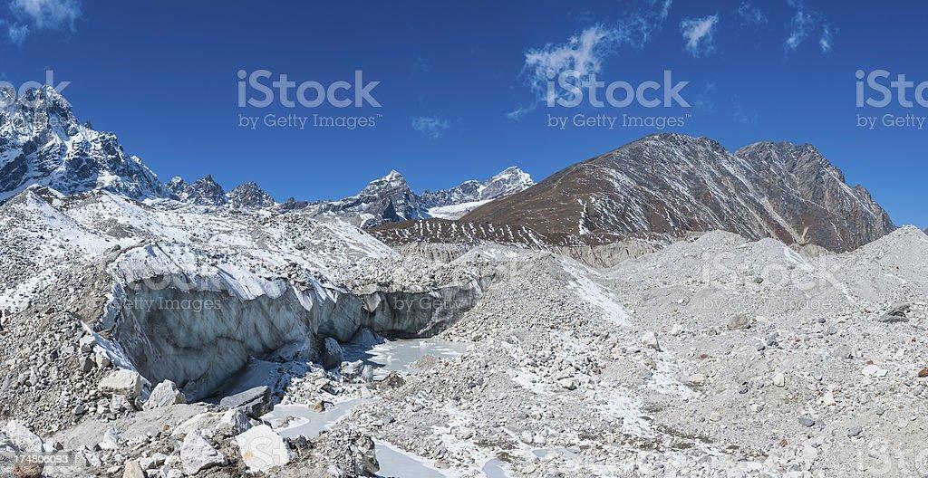 Glacier ice crevasses snowy mountain peaks panorama Himalayas royalty-free stock photo