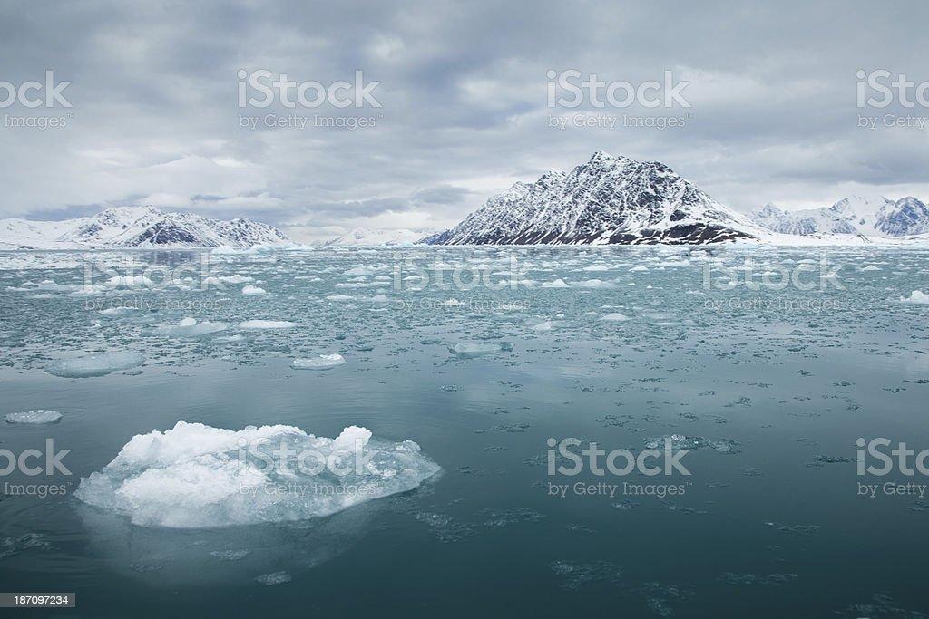 glacier ice in Arctic Svalbard stock photo