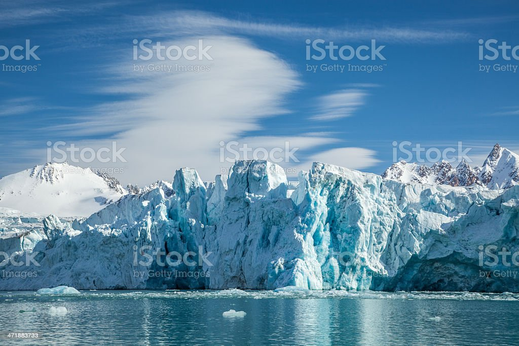 glacier ice in Spitsbergen stock photo
