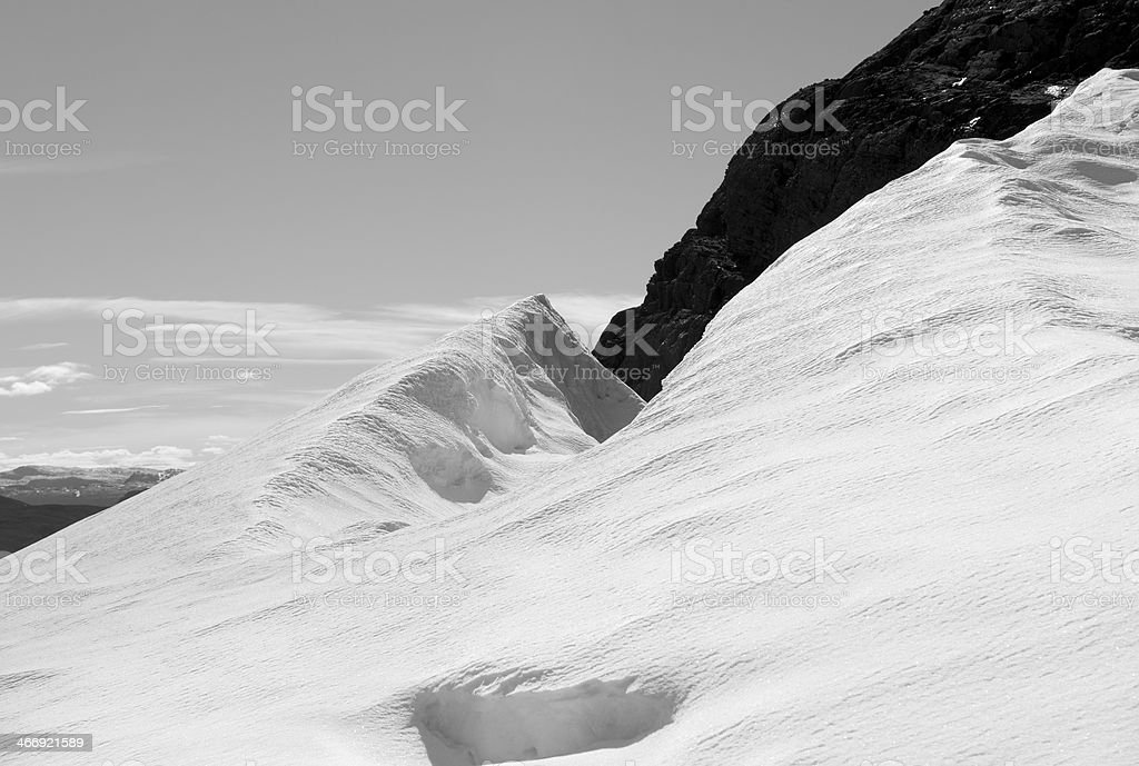 Glacier in high mountains of Jotunheimen National Park royalty-free stock photo