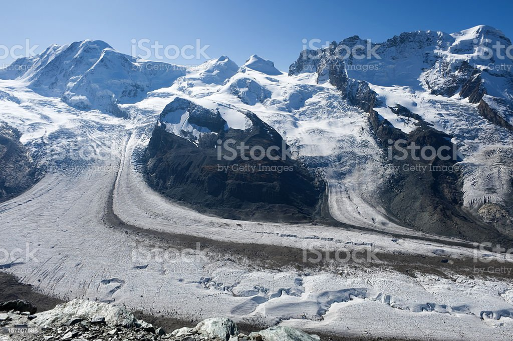 A glacier in the beautiful Swiss alps royalty-free stock photo