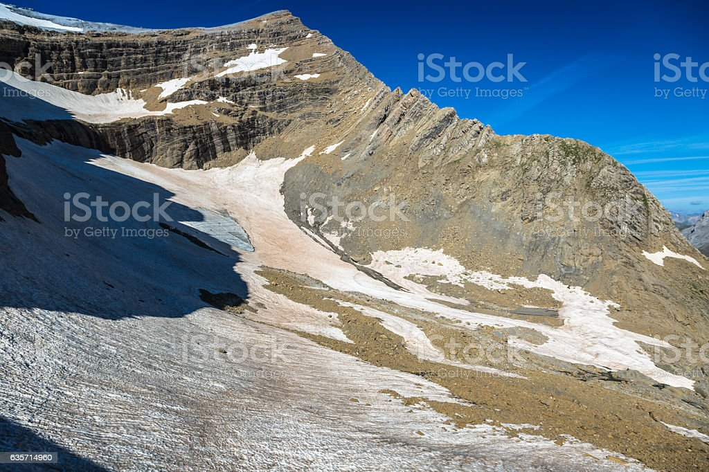 Glacier in the Cirque de Gavarnie in the central Pyrenees royalty-free stock photo