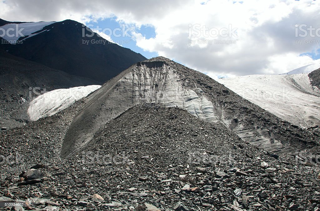 Glacier in the mountains stock photo