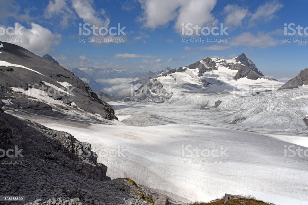 Glacier in the Swiss Alps stock photo