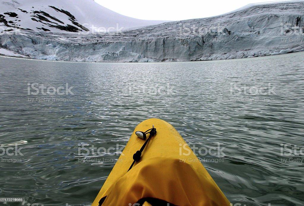Glacier kayaking - ultra wide! royalty-free stock photo