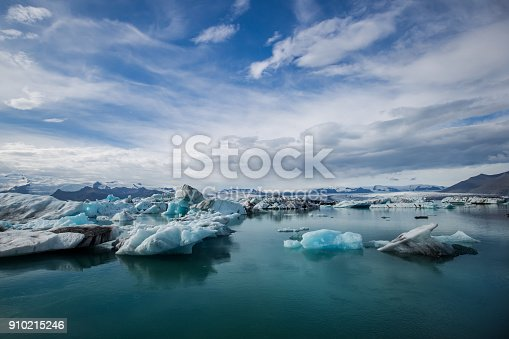 Panorama picture of the glacier lagoon in jokulsarlon in iceland with glacier in the background.