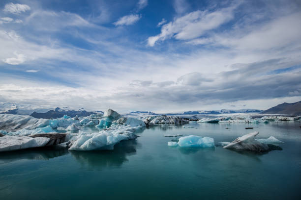Glacier lagoon iceland jökulsarlon Panorama picture of the glacier lagoon in jokulsarlon in iceland with glacier in the background. glacier lagoon stock pictures, royalty-free photos & images