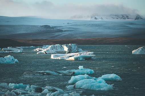 famous glacier lagoon in jokulsarlon in iceland with glacier in the background, europe.