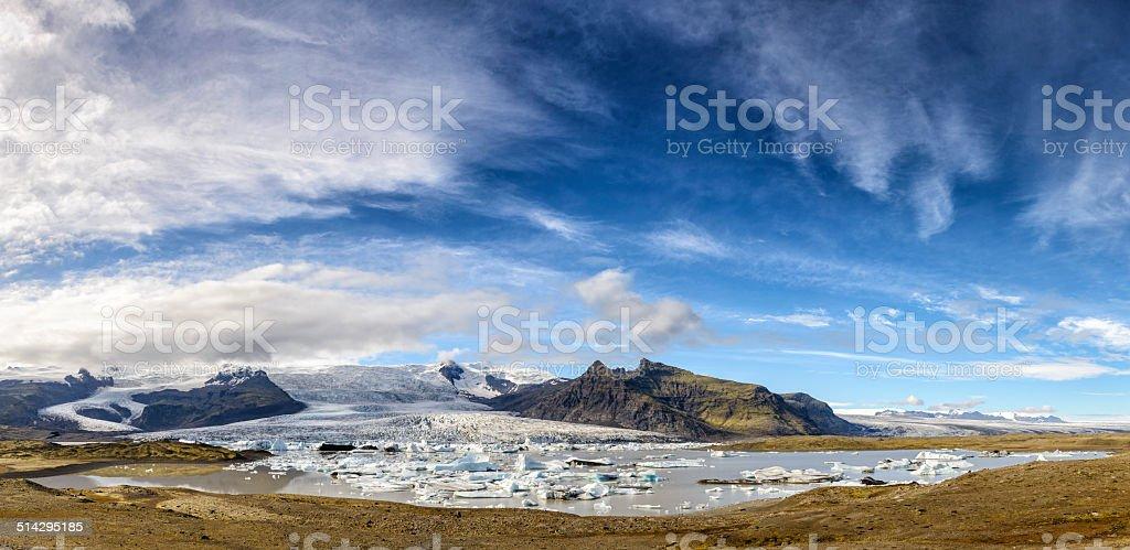Glacier Lagoon Panorama in Iceland stock photo