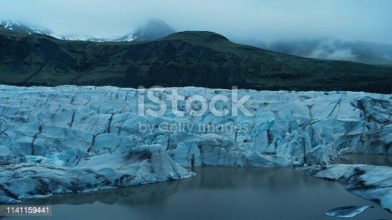 Majestic blue glacier. Sunlight