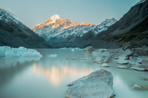 glacier lake hooker with mount cook in the background in new zealand glacier lake hooker with mount cook in the background in new zealand wasser photos stock pictures, royalty-free photos & images