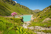The beautiful walking destination of Lac de Cleuson in the Valais region of Switzerland.