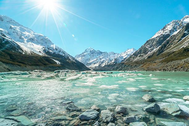 glacier lake - kochinsel stock-fotos und bilder