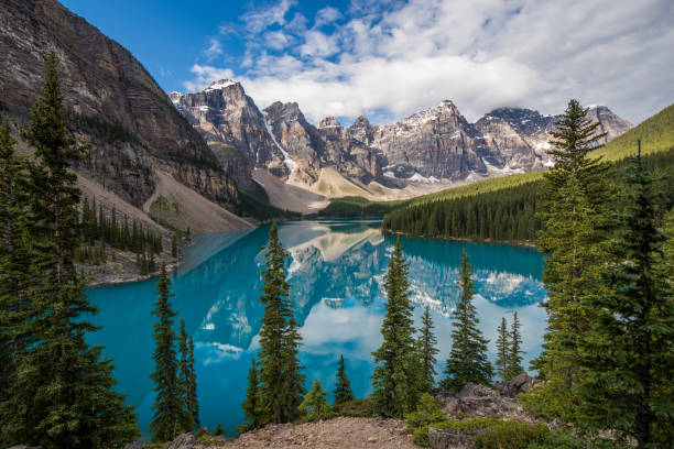 Glacier Lake Stunning Lake Moraine in Canada moraine lake stock pictures, royalty-free photos & images