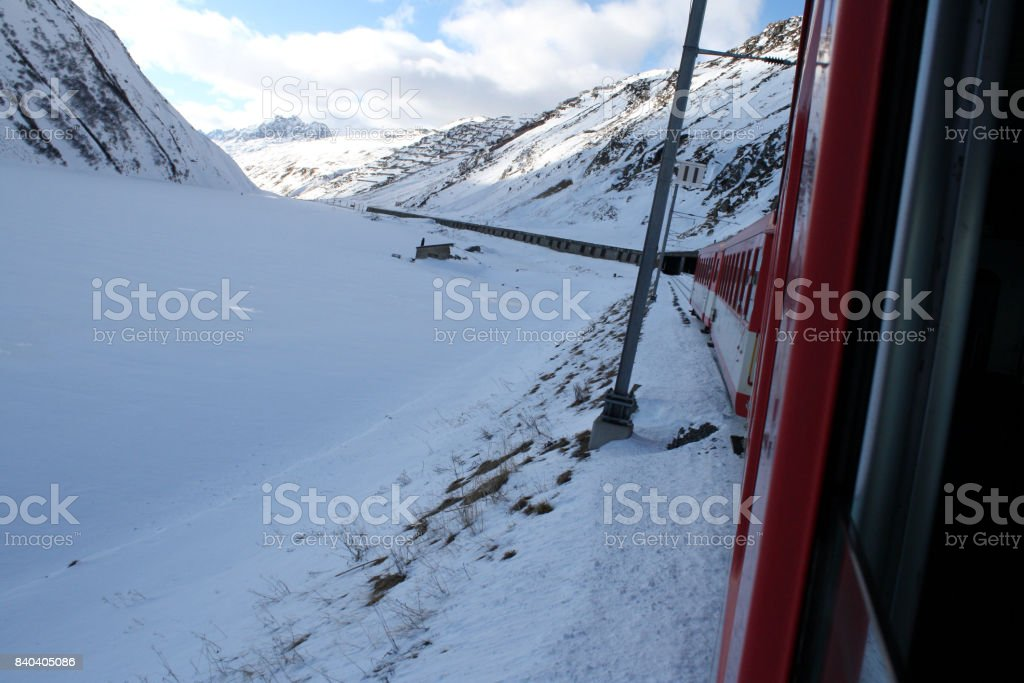 glacier line in Switzerland stock photo