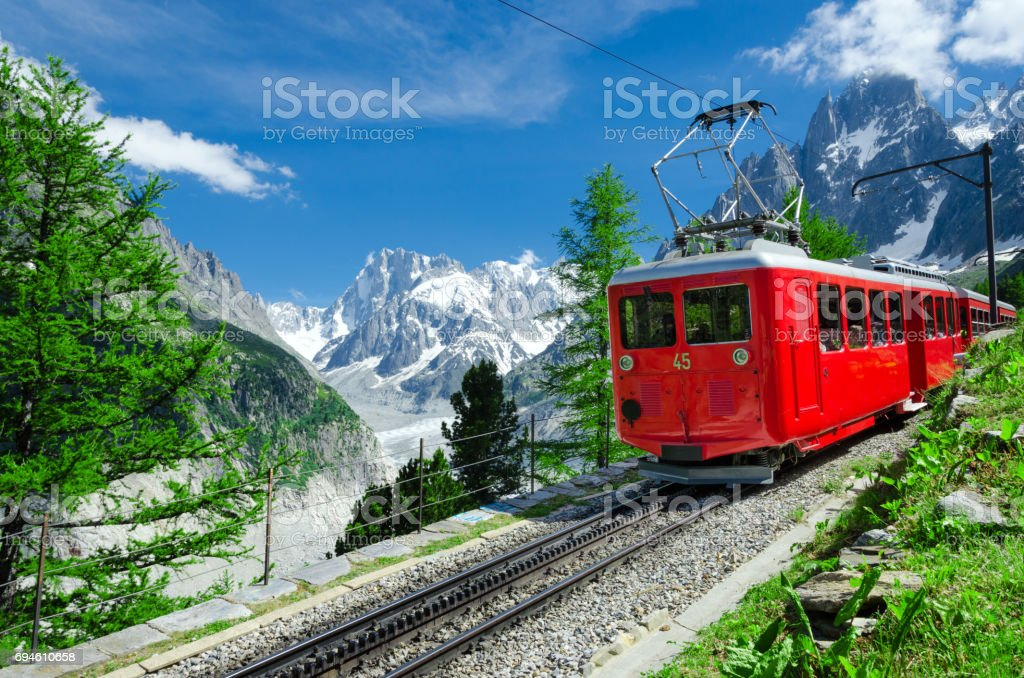 Glacier Mont Blanc Express background in Chamonix, France stock photo