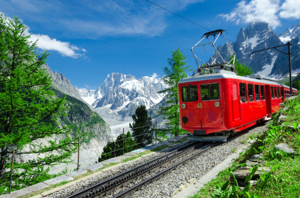 glacier mont blanc express background in chamonix, france - monte bianco foto e immagini stock
