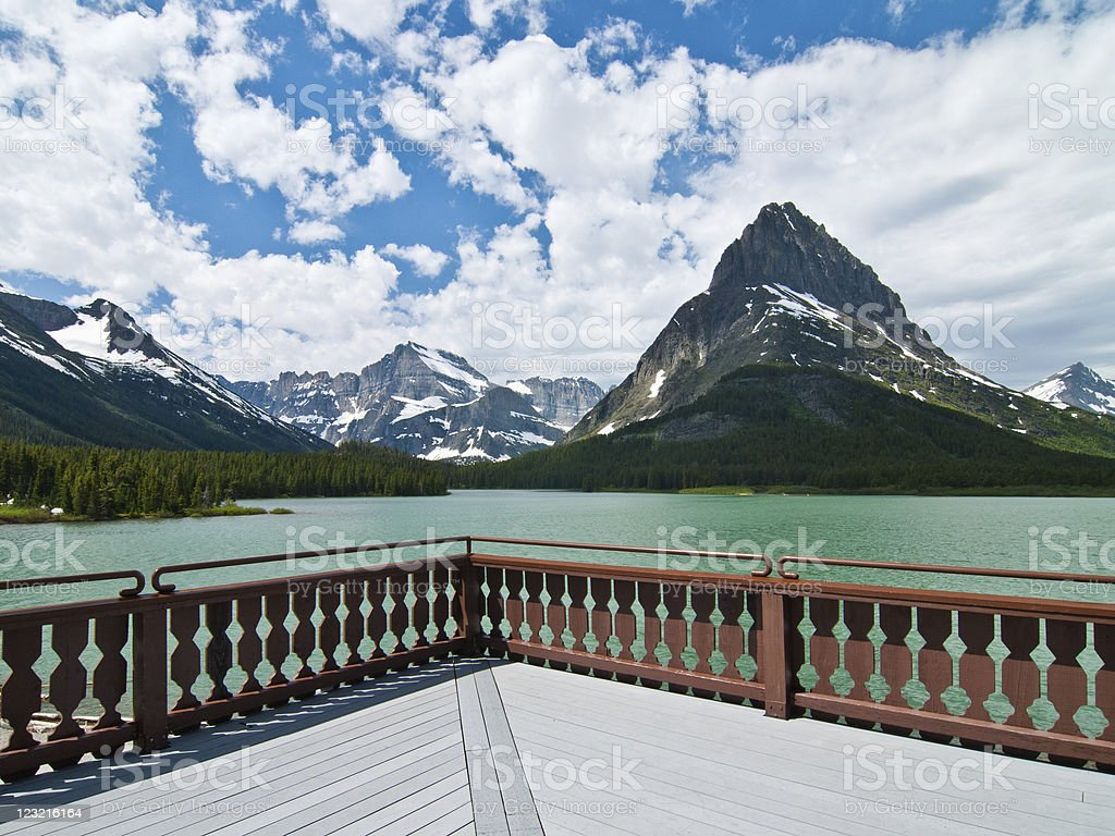 Glacier National Park and Swiftcurrent Lake from Many Glacier Hotel royalty-free stock photo