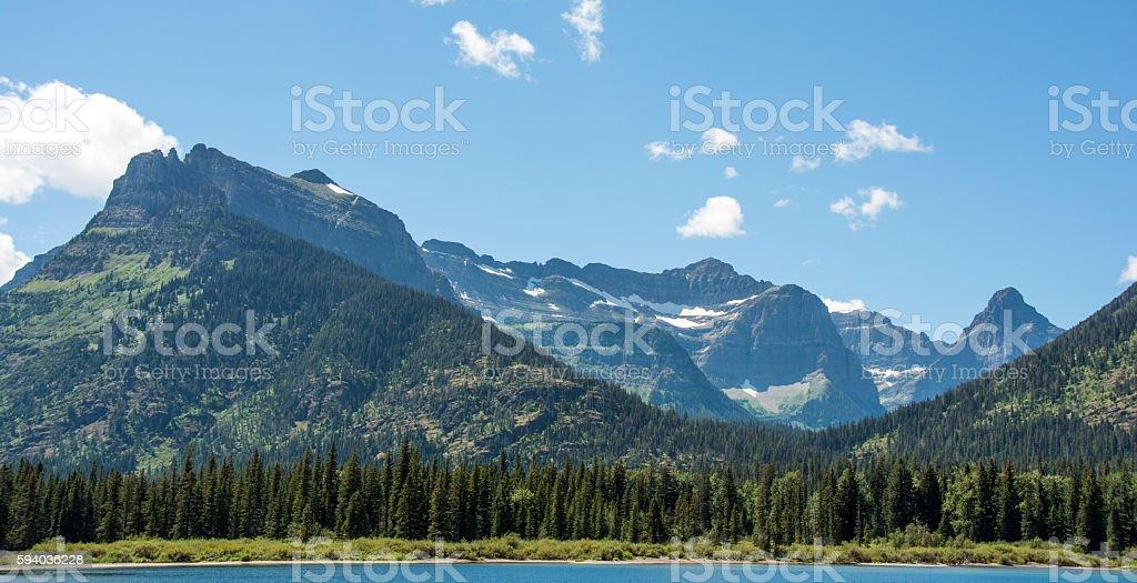 USA Glacier National Park at end of Waterton Lake stock photo