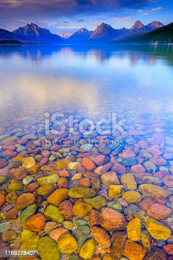 Lake McDonald in Glacier National Park seen from the town of Apgar in Montana USA