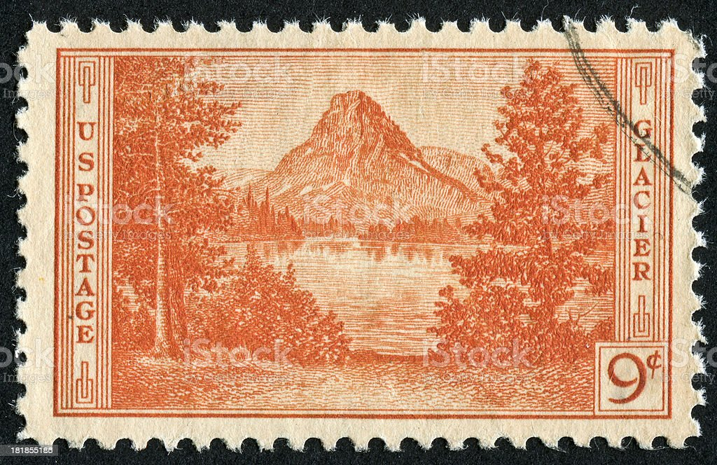 Glacier National Park Stamp royalty-free stock photo
