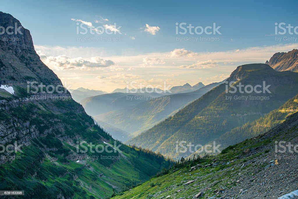 Glacier National Park valley stock photo