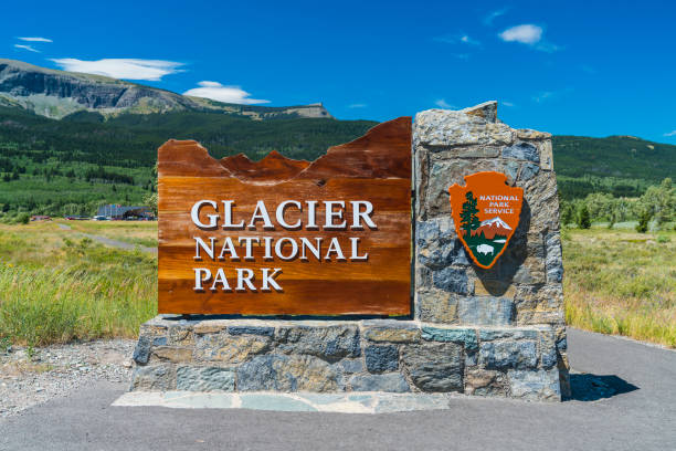 glacier national park,montana,usa. 7-22-17: glacier national park sign in the entrance. - us glacier national park stock pictures, royalty-free photos & images