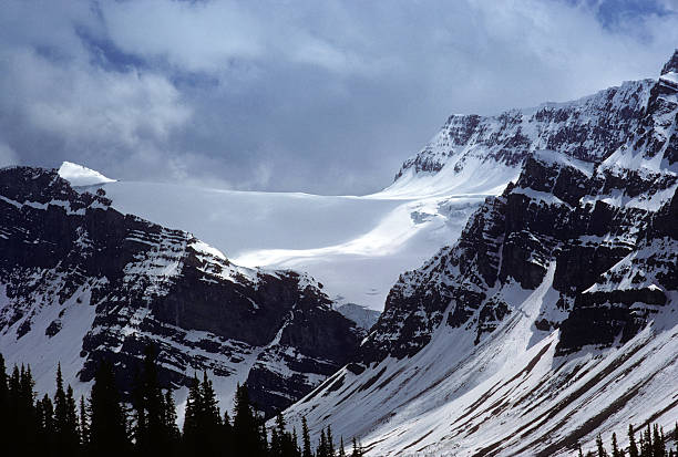 Glacier near Banff, 1975 A glacier and mountainside near Banff, in Canada, with treeline barely visible in the foreground. hearkencreative stock pictures, royalty-free photos & images