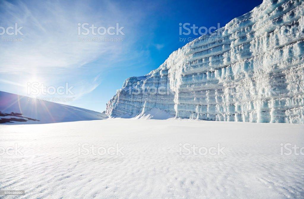 Glacier on Mt Kilimanjaro, close to the summit stock photo