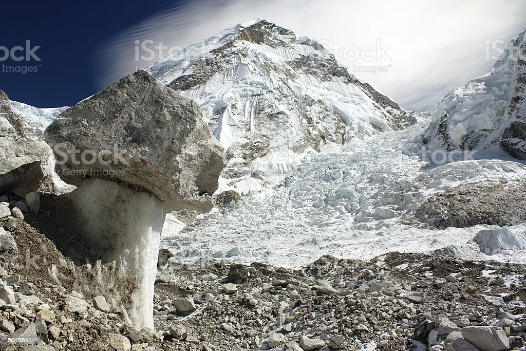 glacier on the way to Everest Base Camp - Nepal stock photo
