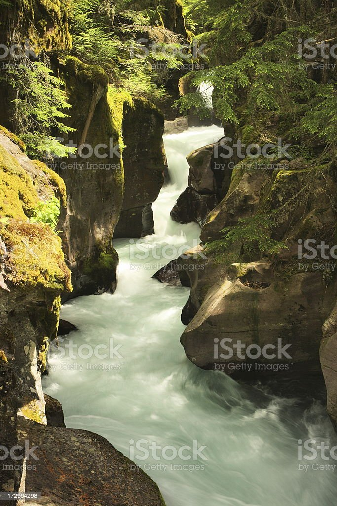 Glacier Park Waterfall Cascade Gorge royalty-free stock photo