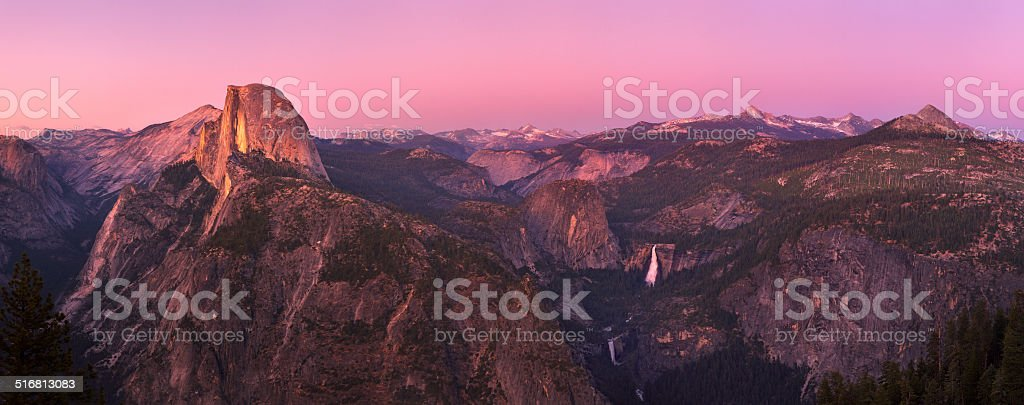 Glacier point at sunset stock photo