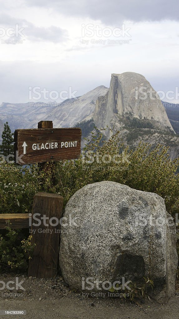 Glacier Point Sign with Half Dome stock photo