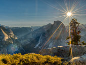 An image of a sunburst at Glacier Point in Yosemite National Park