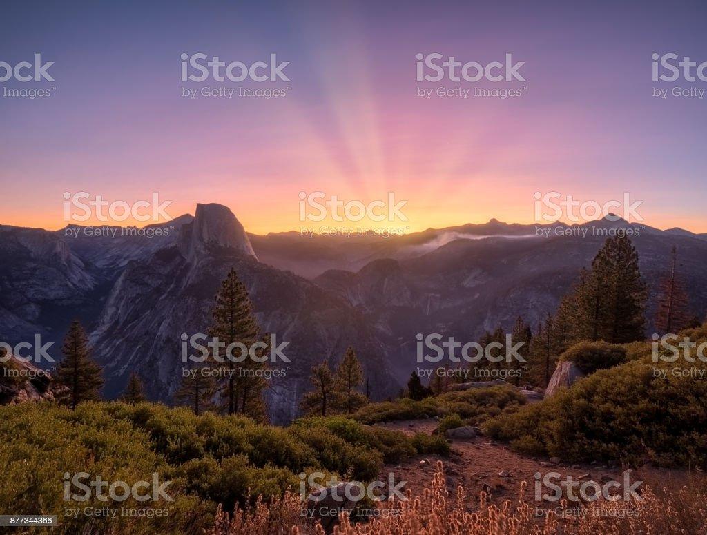 Glacier Point Sunrise stock photo