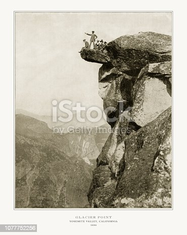 Antique American Photograph: Glacier Point, Yosemite Valley, California, United States, 1893: Original edition from my own archives. Copyright has expired on this artwork. Digitally restored.