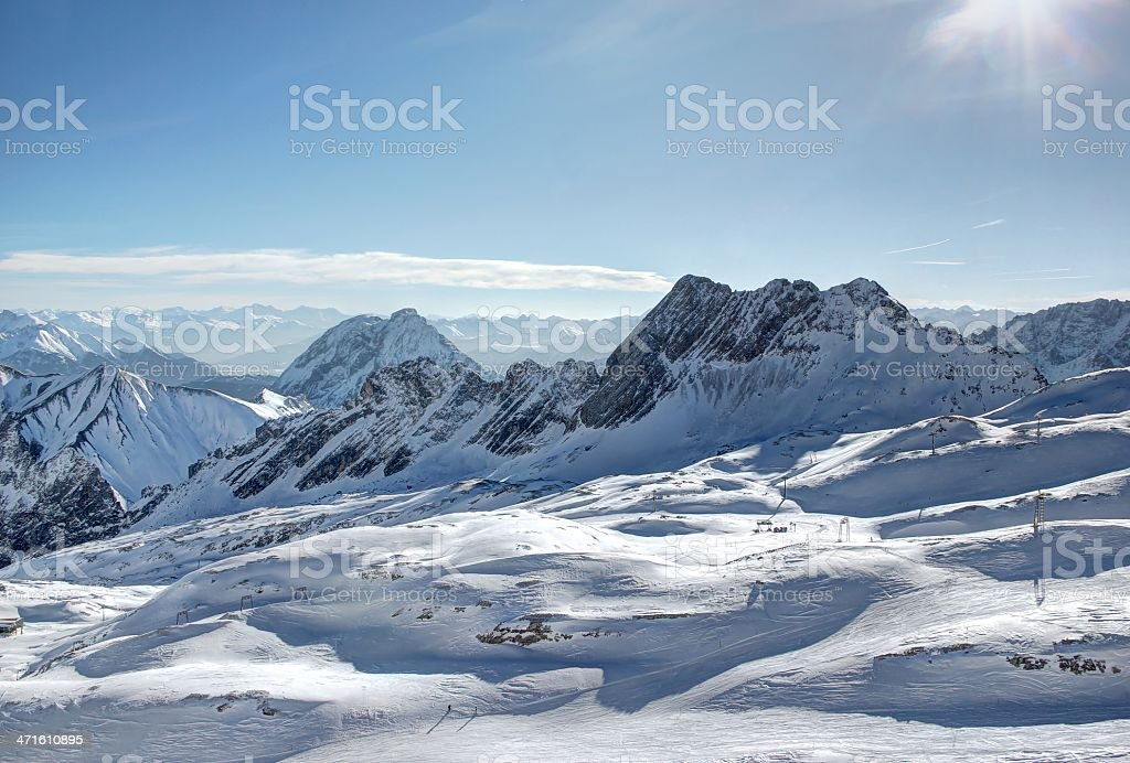 Glacier skiing: Zugspitze mountain - Top of Germany. royalty-free stock photo