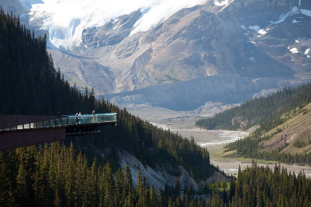 Glacier Skywalk The glacier skywalk on the Icefields Parkway, Alberta, Canada. elevated walkway stock pictures, royalty-free photos & images